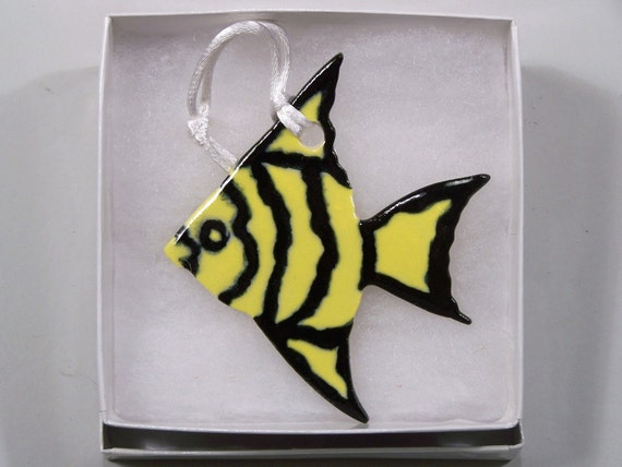 Yellow and Black Striped Angel Fish Ornament - Handpainted Porcelain