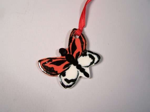 Persian Rose and White Butterfly Ornament - Handpainted Porcelain