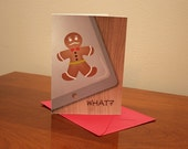 Mustache Gingerbread Man Holiday Card