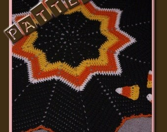 Candy Corn Ripple Afghan Crochet Pattern