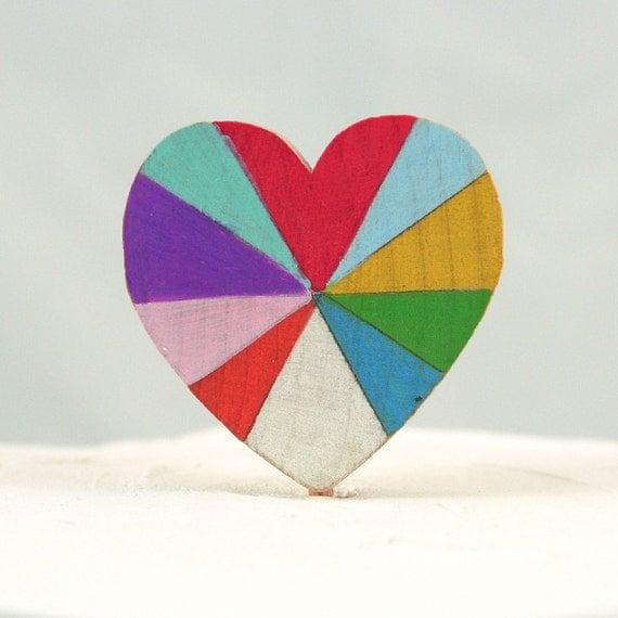 Love is Beautiful Wooden Rainbow Heart Cake Topper