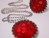 oodles of red sequins - bottle cap necklace
