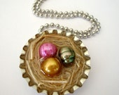 Easter Eggs in a basket pink green yellow pearl bottle cap pendant necklace