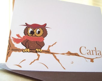 Whoo is adorable...Personalized  Owl on a branch stationery.10 notecards w/ brown envelopes.