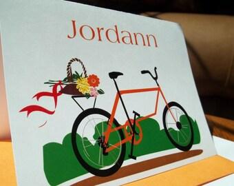 Orange Bike w/ Basket Personalized Stationery Set of 10 notecards w/ orange envelopes