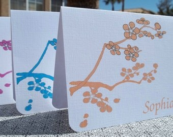 Branches of Spring.  Set of 10 Personalized Stationery note card set.
