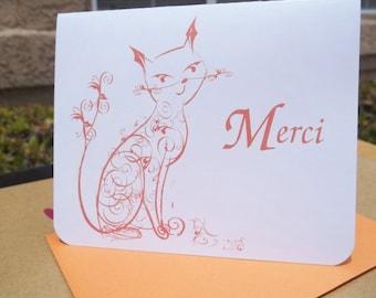 Merci Orange Cat Thank you Card Stationery - Set of 10 notecards w/ envelopes