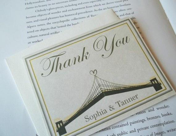 Brooklyn Bridge Inspired Couples / Wedding Thank You Cards.  Personalized Set of 10 cards w/ 10 Envelopes.