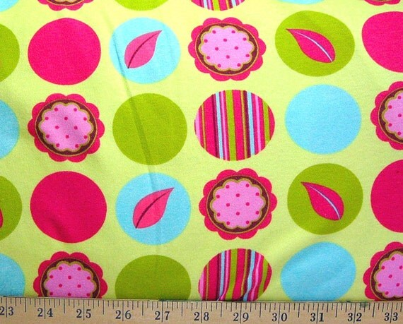Citron Mod Dots Patty Young Interlock Knit Michael Miller by the yard