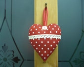 Red Spotty Heart with Vintage Lace