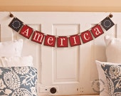 Patriotic -  AMERICA - BETSY ROSS -  Garland - banner - red white and blue - Americana - Bunting - Pennant - Stars and Stripes - 4th of July