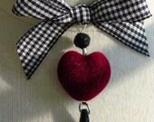 Checkered Past Flocked Heart and Check Ribbon Choker