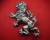 Silver Heraldric Lion Rampant Royal Brooch
