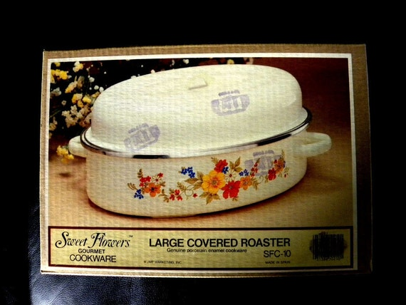 Sweet Flowers Gourmet Cookware Large Covered Roaster