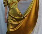 RESERVED for SARAH     Antique 1930s Green Gold FULL LENGTH BALL GOWN