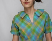 Vintage Summer PLAID  Dress -  Blue Green and Yellow Plaid Circle Skirt Frock with Peter Pan Collar