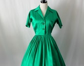 RESERVED for Sabrina..............................Vintage Dress -  1950's EMERALD GREEN Satin Full Skirt Swing Dance Party Frock