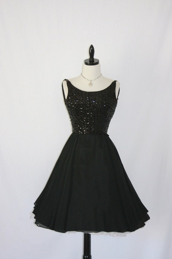 1950's Sequin Sparkle Cocktail Dress -  Black Sequin Bodice with Chiffon Full Skirt Cocktail Party Frock