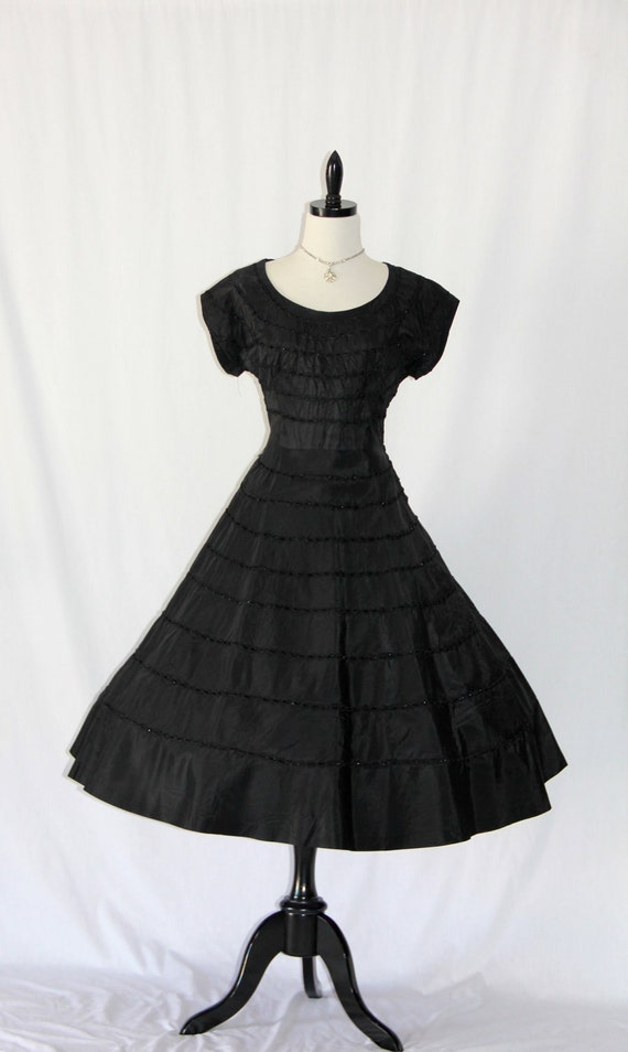 1950's Black Dress  -  Vintage Taffeta -Ribbon Weave Full Skirt Cocktail Party Frock