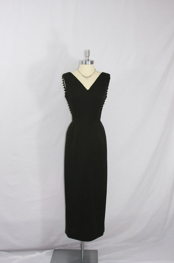1960's Little Black Dress - Soft Silk Form Fit with Low Plunge Back with Scarf and Ball Fringe