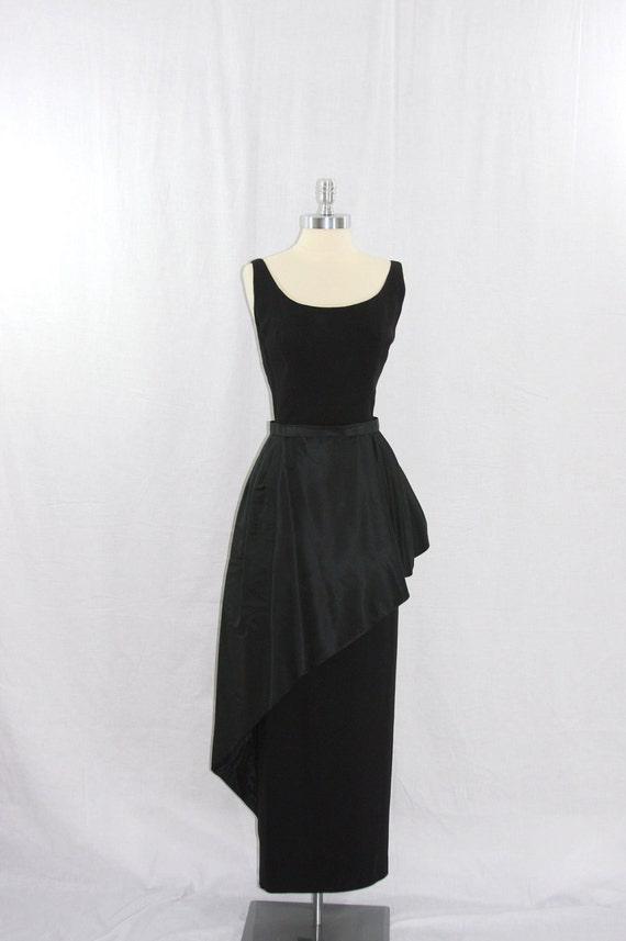 On hold.....Vintage 1950's Designer Dress  -  Stunning Full Length Black Crepe with Asymmetric Peplum Formal Frock