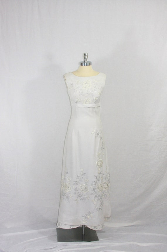 30% off.......Early 1960's Dress -  White Long Empire Waist with White and Silver Embroidery