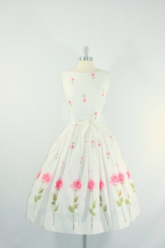 1950's Vintage Dress - White Cotton with Long Stem Pink Roses Border Print Garden Party Frock