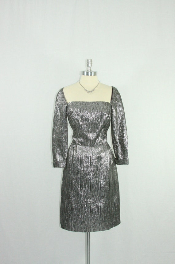 1950's Dress - SILVER and Black Sophisticated Lurex Silhouette Cocktail Party Frock