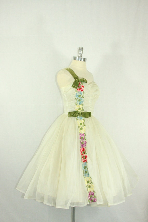 ON HOLD.....Vintage 1950's Dress - Incredible White Chiffon Ruched Bodice Full Skirt Short Wedding Prom Frock
