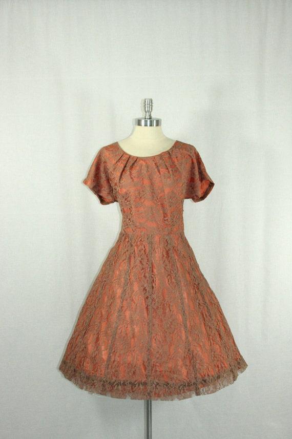 Large Vintage 1950's Dress - Mocha Lace Short Sleeve Cocktail Party Frock