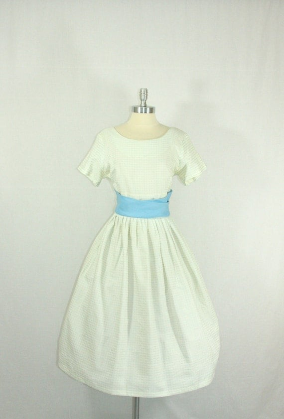30% off......1950's Dress - White with Blue Rayon Full Skirt Party Frock