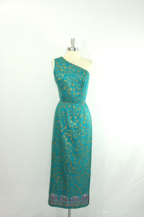 Vintage Designer ALFRED SHAHEEN - One Shoulder Asymmetric Sultry Cocktail Party Frock