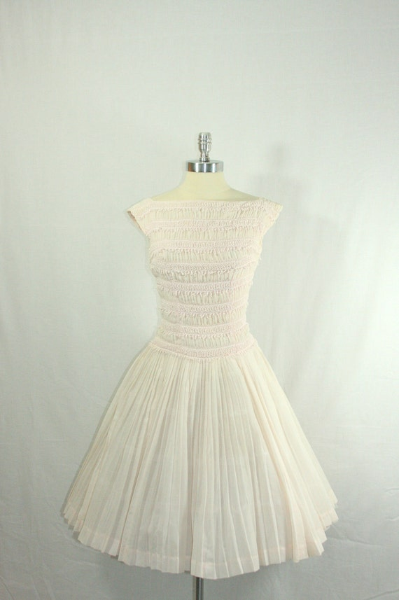 RESERVED for Joni........1950s Vintage Wedding Dress - Simply Perfect Ivory with a Hint of Pink Drop Waist Pleated Skirt Summer Bridal Frock