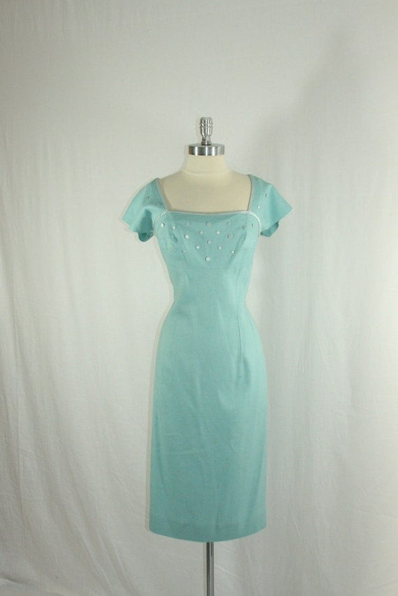 1950's Aqua Vintage Party Dress - Gorgeous Shade of Aqua Blue Wiggle Cocktail Party Frock