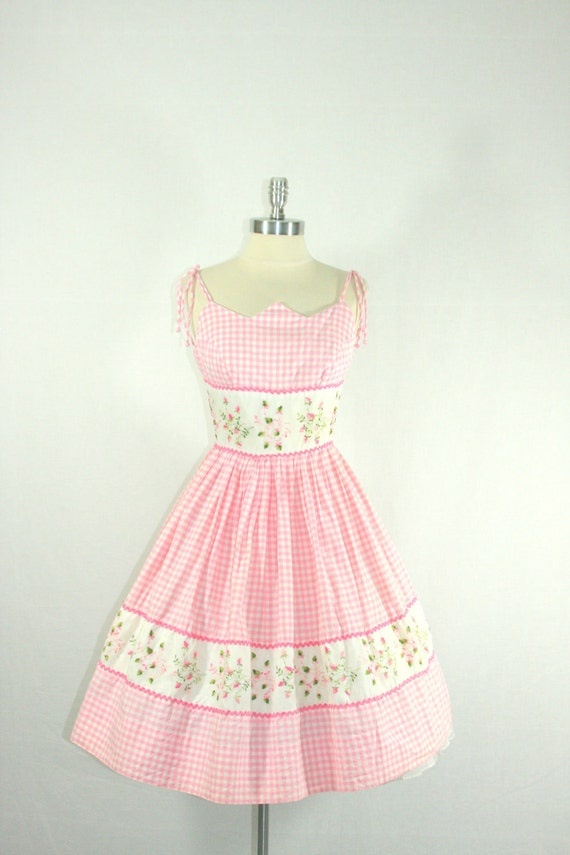 Reserved for Pauline......1950s Summer Dress - Pink and White Gingham with Embroidered Floral Motif Swing Party Frock
