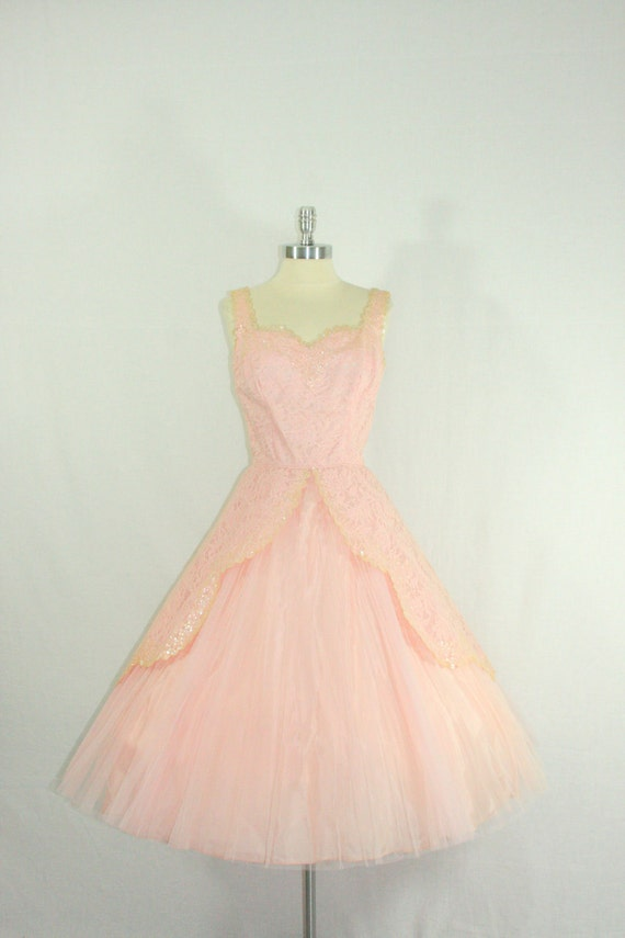 OH HOLD...............1950's Vintage Dress - Pastel Pink Lace Tulle and Sequins Cupcake Dream Summer Wedding Frock