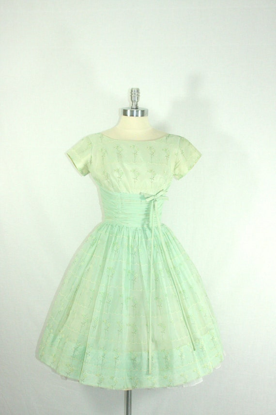 reserved 1950 s green vintage dress the best mint