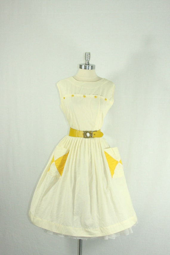 Reserved for Jenn.......1950s Summer Dress - White and Mustard Cotton Day Frock