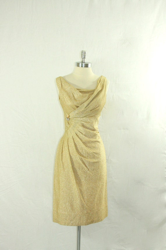1960's Metallic Mid Century Mod Dress - GOLD BOMBSHELL Draped Wiggle Cocktail Party Frock
