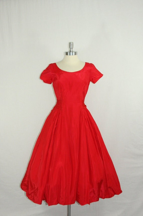 On hold.....1950s Party Dress - Vintage Bright Red Taffeta Short Sleeve Very Full Skirt Party Frock