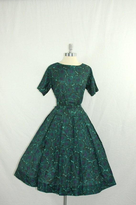 RESERVED for Annie........VINTAGE 1950's Dress - Dark Green Cotton Drop Waist Full Skirt Frock