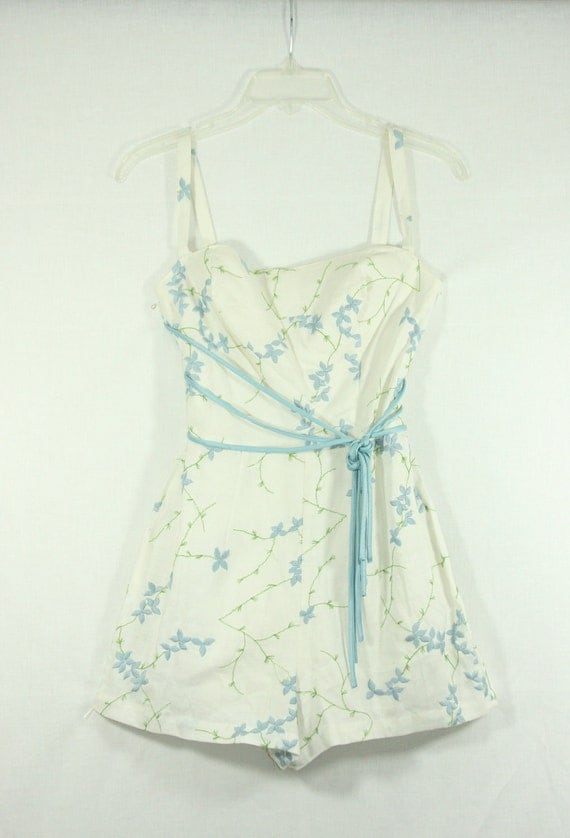 RESERVED for Autumn.......1950s Romper - White Linen with Blue Embroidered Flowers CONVERTIBLE Play Suit Pin Up