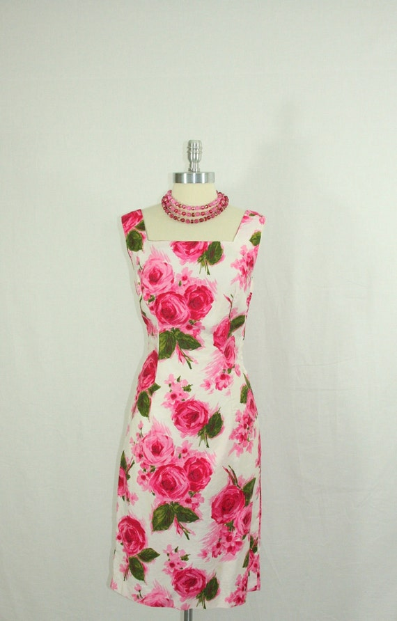 1950s Roses Dress - Vintage Cotton Large Pink Watercolor Roses Garden Party Wiggle Frock