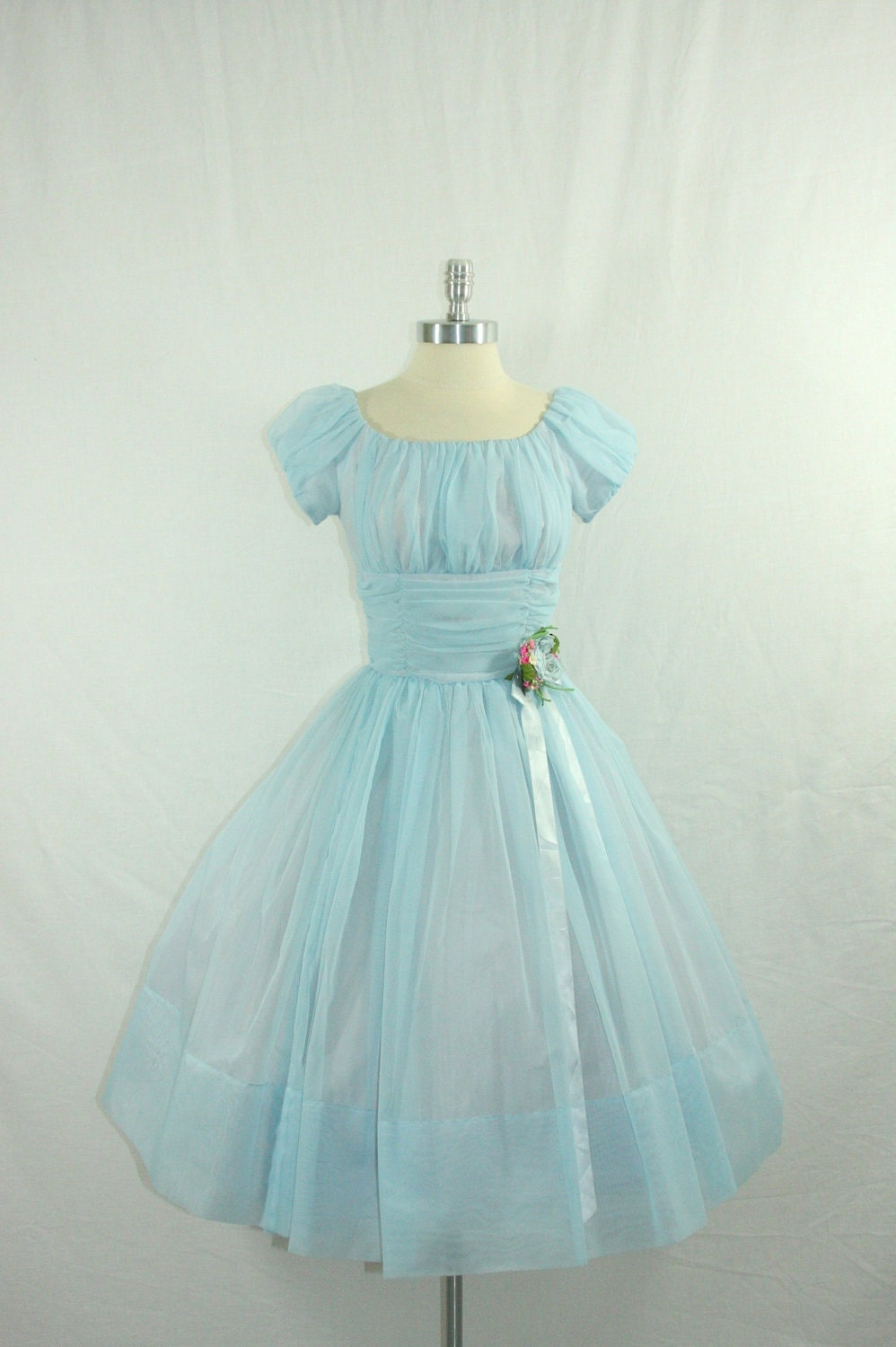 Vintage 1950's Blue Wedding Dress DREAMY Baby Blue