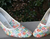 Pastel Embroidered floral shoes
