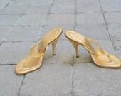 Vintage Gold Lame Sandals Size 5M