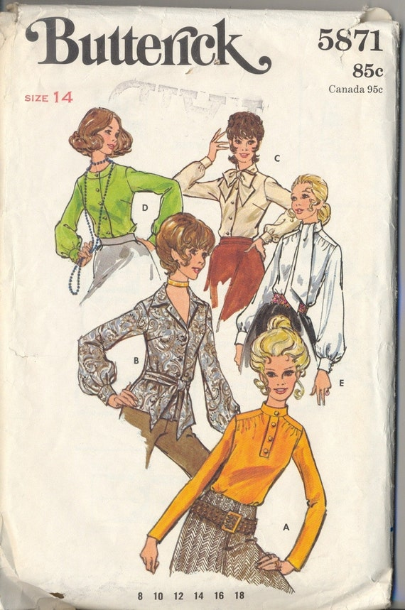 Vintage Early 1970's Butterick Shirt pattern five different styles