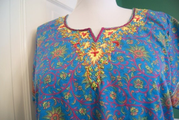 Vintage Indian Embroidered Silk Tunic - Viva la 60s