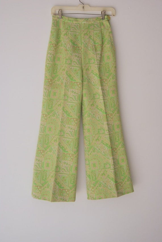 Highwaisted Flare Leg Groovy Double Knit Chartreusse Pants