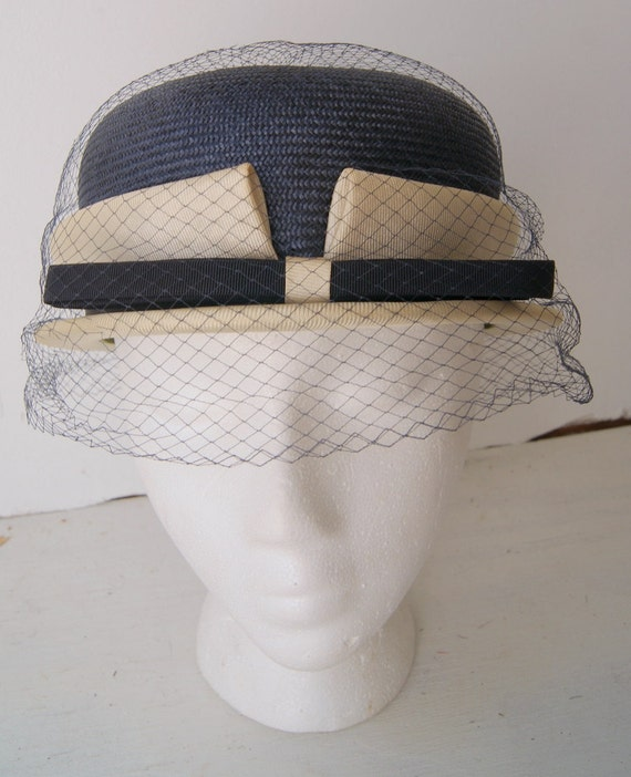 Vintage Two tone Navy and Cream Cloche with Netting w/ original box reserve until 9/15